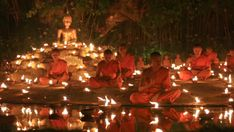 Candles Float In Water In A Buddhist Temple Stock Footage Video ...