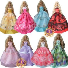 15items=5 Wedding Dress Princess Gown+5 shoes+5accessories Dress Clothes Gown For Barbie doll