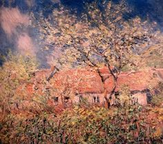 Spring Bloom in Painting Claude Monet. Springtime at Giverny, 1880