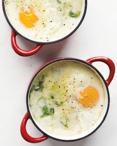 This quick egg and grits dish is perfect for breakfast or brunch and has the decadent feel of its inspiration without butter or cream.