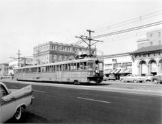 """Westbound """"F"""" train on Shattuck Ave. at Bancroft Way in downtown Berkeley. Unit April (John Stashik Collection, via Bay Area Rails) Berkeley California, California Usa, East Bay Area, Vintage Trains, Old Pictures, Ancestry, Calming, Vintage Photos, Past"""