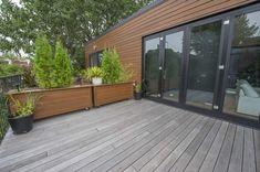Love the gray with warm wood! Architecture, Gazebo, Deck, Exterior, Warm, Garden, Outdoor Decor, House, Porch Ideas