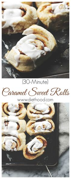 30-Minute Caramel Sweet Rolls | www.diethood.com | Caramel Sweet Rolls; no rise time, no kneading, no waiting! They are easy, quick, and best of all, delicious! | #recipe #cinnamonrolls