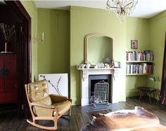 yellowy green is balanced with tan in a gorgeous room from light locations