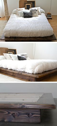 Floating Platform Bed Frame / Perfect for a studio loft space. Modern Furniture / Home Decor / Interior Design / Artisan Made by pereidarice.etsy.com