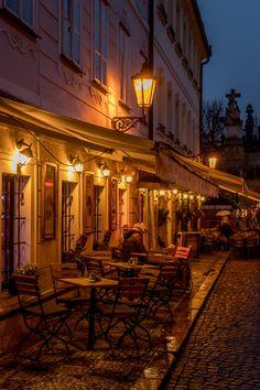 Evening on street - Prague restaurant at Kampa
