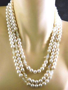 "Vintage Triple Strand Necklace Faux Pearl Aurora Borealis Marked Japan 21"" #StrandString"