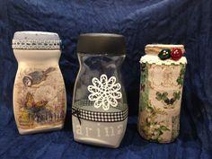 #reciclaje de tarros de cristal decorados con técnicas de decupage y pintura chalk