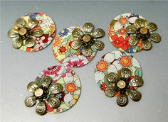 BRACELET or EARRING CONNECTORS Vintage Floral by DonnaMillard, $25.00