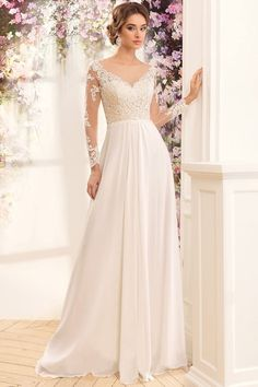 Cheap Long Sleeves Wedding Dresses Vestido De Noiva Scoop Neck Lace Chiffon Beach Wedding Gown Plus Size Robe De Mariage 2016 Wedding Dresses, Wedding Dresses Plus Size, Bridal Dresses, Wedding Gowns, Tulle Wedding, Wedding Dress Sleeves, Long Sleeve Wedding, Lace Dress, Lace Chiffon