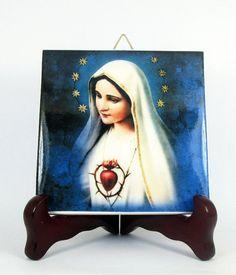 Our Lady of Fatima #Catholic #icon on ceramic tile https://www.etsy.com/it/listing/228144337/catholic-gift-our-lady-of-fatima-virgin