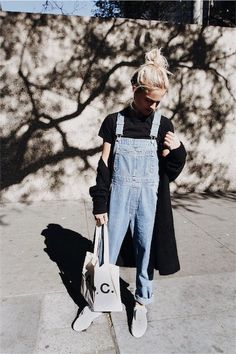 Comme des Garcons heart tee, A. bag and sneakers, Acne cardigan & vintage dungarees. Via Mija: Mode Style, Style Me, Look Fashion, Fashion Outfits, Fashion 2016, Street Fashion, Sneakers Fashion, Casual Outfits, Cute Outfits