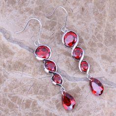Lovely Red Garnet 925 Sterling Silver Drop Dangle Earrings For Women Prom Earrings, Coral Earrings, Square Earrings, Round Earrings, Dangle Earrings, Gold Plated Bracelets, Red Garnet, Fashion Earrings, Women Jewelry
