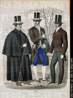Men's fashion plate depicting gentlemen and servant, from Journal des Tailleurs, 1855.