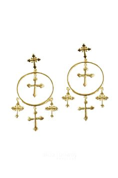 Miss Runway Fashion - Crossing Paths Earrings - Gold