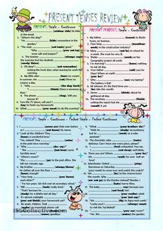 PRESENT TENSES REVIEW