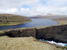 Lake on the edge. Faroe Islands.