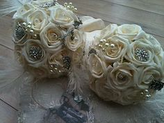 IVORY ROSES BROOCHES VINTAGE POSY BOUQUETS FEATHERS BRIDES | eBay