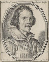 Ottavio Leoni (Il Padovano)(Rome, 1578-1630) ~ Portrait of Cavaliere Giuseppe Cesare of Arpino, painter ~ Engraving ~ 1621 ~ Known as Cavaliere d'Arpino (1568-1640) after his birthplace and the knighthood awarded by Pope Clement VIII. He wears the Order of the Cross of Christ in this portrait. He was Clement's principal painter, but fared less well under Paul V