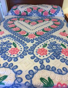 Chenille Hearts & Flowers Bedspread Blue Pink White Cotton