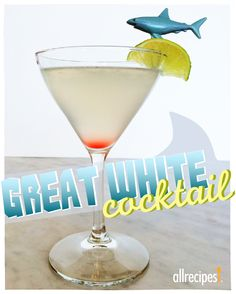 Great White Cocktail | In the mood for cocktails with a bite?  1 1/2 fluid ounces vodka 1 fluid ounce white cranberry juice 1/2 fluid ounce triple sec 1/4 fluid ounce lime juice 1 cup ice 3 drops grenadine syrup (optional) Combine vodka, cranberry juice, triple sec, and lime juice in a cocktail shaker. Add ice; cover and shake. Strain into a cocktail glass. Add grenadine to drink, which will sink to the bottom.