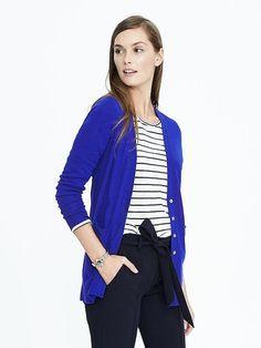 ✅ Cobalt Merino Wool Boyfriend Cardigan (size: medium)