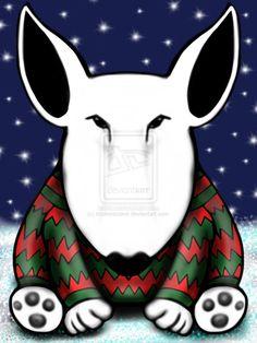 Christmas Jumper English Bull Terrier by sookiesooker.deviantart.com on @deviantART