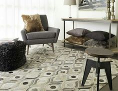 This beautiful geometric rug is actually made of natural hides woven together. It looks great paired with modern furnishings in this seating area. An organic, contemporary rug from the Appalachian Collection by Surya. Geometric Rug, Geometric Patterns, Grey Rugs, Accent Furniture, Winter White, Decorating Your Home, Interior Decorating, Interior Design, Colorful Rugs