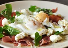 prosciutto and mozzarella with poached egg. served at Crafternoon in May 2013