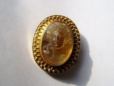 Fabulous Rare Antique Victorian Citrine Mythological Cameo Gold Pendant Brooch