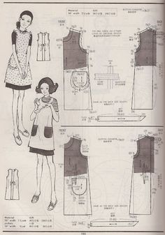... examples of vintage aprons from the Kamakura-Shobo Publishing Co. Pattern Drafting books Vol. 1, 2, and 3, published in 1967, 1970 and 1972.