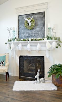 White and Silver Deer Themed Christmas Mantel #AtHomeForChristmas #AtHomeFinds #ad
