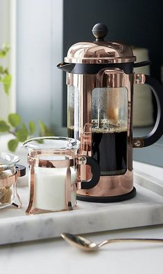 Signature dome-topped Bodum French press coffee maker for your Wedding Registry - Coffee Maker - Ideas of Coffee Maker Coffee Drinks, Coffee Cups, Coffee Shop, Coffee Jelly, French Press Coffee Maker, Copper Kitchen, Great Coffee, Kitchen Essentials, Crate And Barrel