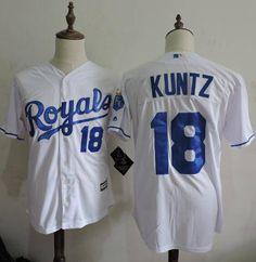 Men's Kansas City Royals Coach #18 Rusty Kuntz White Home Cool Base Baseball Jersey