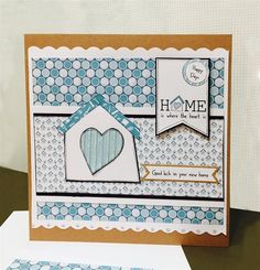 Handmade 'New Home' card with tutorial. Uses free-to-download printable papers.
