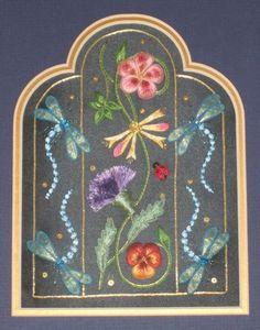 Window of the Blue Dragonflies, Alison Cole  combined goldwork/stumpwork kit