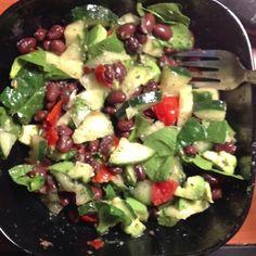 Spinach, Black Beans, Avocado, Cucumber, Tomato, Lime, Cilantro, Olive Oil, Salt & Pepper