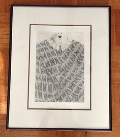 "Whimsical Fat Clown Signed Pen and Ink Drawing Framed Matted 19 1 2"" x 16"" 