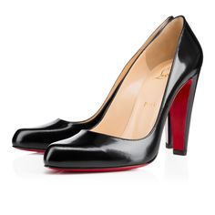 """""""Decollete 312"""" is a pioneer of the contemporary 100mm silhouette.  Its thick, tapered heel and smooth almond toe create a gracious balance of form and functionality.  Try this fresh new look in black jazz calf leather for a style that reigns in the office and after hours."""