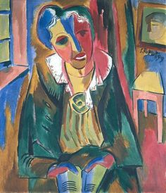 Rosa Schapire, Oil on Canvas, German Expressionism Rottluff's painting of Dr. Rosa Schapire (art historian who supported the Brucke group) embodies the standard aesthetic of German Expressionism. German Expressionism Art, Expressionist Artists, Emil Nolde, Ernst Ludwig Kirchner, Max Beckmann, Harlem Renaissance, Wassily Kandinsky, Paul Klee, Ludwig Meidner