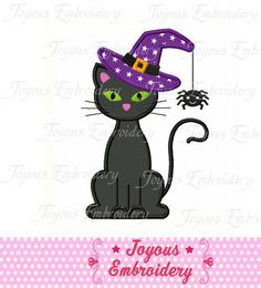 Instant Download Halloween Black Cat Applique by JoyousEmbroidery