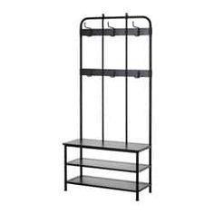 fliesen PINNIG Coat rack with shoe storage bench - black - IKEA Shoe Storage Bench Ikea, Shoe Storage Unit, Ikea Shoe, Small Storage, Garage Storage, Coat And Shoe Storage, Storage Racks, Storage Place, Hemnes