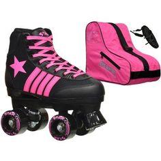 Epic Youth Star Vela Black/Pink Quad Roller Skates Package, Multicolor