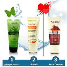 Face Standard Choice Face Care Scrub & Face Wash & Cream   *Product Name* Nutriglow_De Tan Scrub & 1 Neem and Tulsi Face Wash & 1 Advance Perfect White Day and Night Cream  *Brand Name* Nutriglow  *Product Type* Scrub & Face Wash & Cream  *Capacity* Scrub- 65 ml & Face Wash- 65 ml & Cream- 50 gm  *Description* It Has 1 Pack Of De Tan Scrub & 1 Pack Of  Neem and Tulsi Face Wash & 1 Pack Of  Advance Perfact White Day and Night Cream  *Sizes Available* Free Size *   Catalog Rating: ★4 (1083)  Catalog Name: Free Gift Toner Nutriglow Unique Choice Face Care Product Vol 1 (Combo With The Facial Kit ) CatalogID_176472 C52-SC1251 Code: 771-1368714-