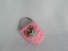 Crochet keychain Coin Cozy, coin holder, coin pouch, mini purse, coin purse, ring holder - Pink Dog by honeybee69 on Etsy