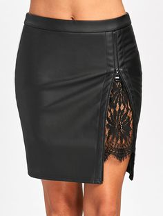 f23c58410 Gamiss 2017 Women Sexy Zipped Bandage Pencil Skirts Lace Insert Fitted Faux Leather  Skirt Autumn Zip Up High Quality Mini Skirts