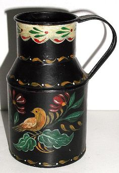 Vintage Toleware Hand Painted Bird & Floral Tole Can With Handle