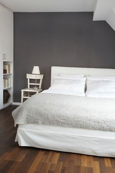 i really like gray walls and white sheets.
