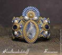 Купить Savarna - Браслет с кианитами - голубой, браслет, Вышивка бисером, украшения из бисера, кианит