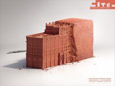 The Print Ad titled Brick was done by Havas Worldwide Paris advertising agency for product: Architecture Museum Paris (brand: Cite De L'architecture Et Du Patrimoine) in France. Ad Design, Design Model, Graphic Design, Design Patterns, Interior Design, Creative Inspiration, Design Inspiration, Daily Inspiration, Ad Of The World